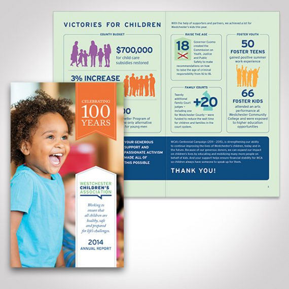 Westchester Children's Association 2104 Annual Report designed by Tara Framer Design