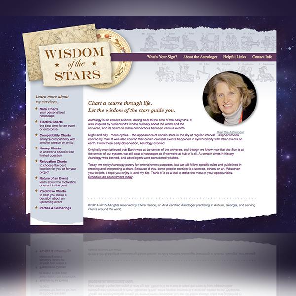 Wisdom of the Stars Web Site designed by Tara Framer Design